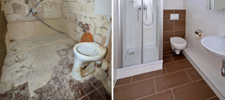 bathroom renovation before after of toilet and flooring